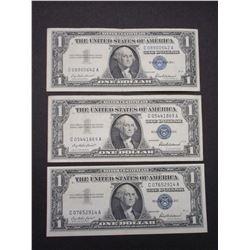 3 1957 Silver Certificate Dollar Bills