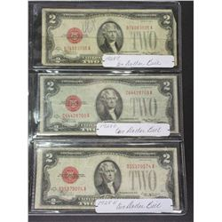 3 2  Red Seal Dollar Bills- 1928C- 1928D- 1928E