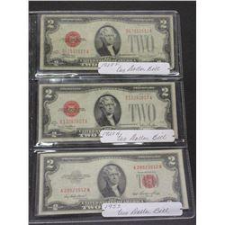 3 2 Red Seal Dollar Bills- 1928F- 1928G- 1953