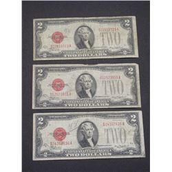 3 1928D 2 Red Seal Dollar Bills
