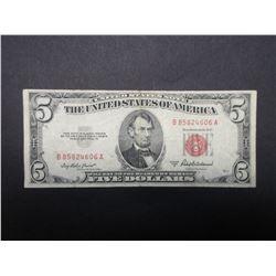 1953 Red Seal 5 Dollar Bill