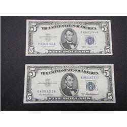 2 Blue Seal Silver Certificate 5 dollar Bills- 1953A- 1953B