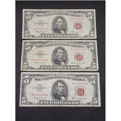 3 1963 Red Seal 5 Dollar Bills