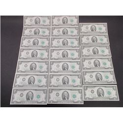 20 Uncirculated 2 Dollar Bills- Sequential Order