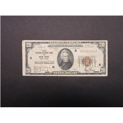 National Security Federal Reserve Bank of New York New York 1929 Brown Seal 20 Dollar Bill