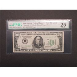 1934A 500 Federal Reserve Note St. Louis FR#2202- HCHA Block- Graded 25 Very Fine by PMG