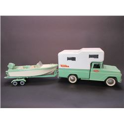 """Tonka Pick- Up With Cabover Camper With Boat and Trailer- Total 27""""L X 5.5""""W C 8""""H"""