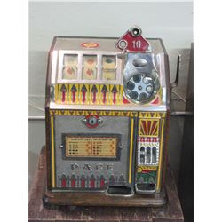 Old Pace Dime Slot Machine- One Arm Bandit- Works Great- Comes With Stand- Lot of Dimes Included- Ke