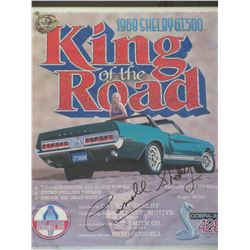 Signed Carrol Shelby King of The Road Poster- Frame 28.5  X 24.5