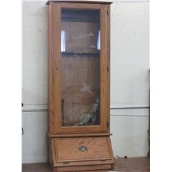 Gun Cabinet- Door and Drawer- Etched Glass- Key- 68 H X 26 W X 19 D
