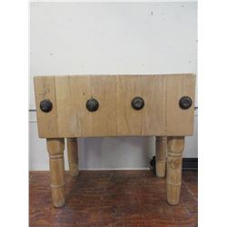 "Butcher Block- Removable Legs- 35""W X 32""H X 20""D"