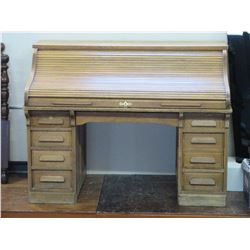 "Oak Roll Top desk- 59""W X 46""H X 32""D"