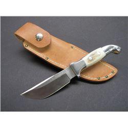 Marked Ruana Bonner Montana 5 HE Knife- Signed VN Hangas- Original Sheath- 4  Blade- 3.75  Handle