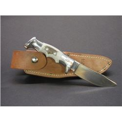 "Marked Ruana Bonner Montana 95 MP Knife- Signed VN Hangas- Finger Grooved- Original Sheath- 4.5""  Bl"