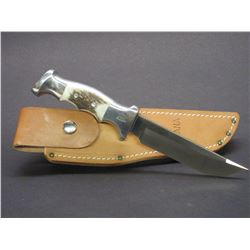 "Marked Ruana Bonner Montana 21A Knife- Signed By VN Hangas- Finger Grooved- Original Sheath- 5"" Blad"