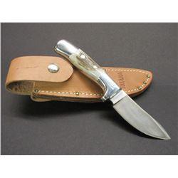 "Marked Ruana Bonner Montana 95 AD Knife- Signed VN Hangas- Original Sheath- 3.5"" Blade- 4.25"" Handle"