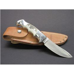"Marked Ruana Bonner Montana Knife- Signed VN Hangas- Finger Grooved- Original Sheath- 4.25"" Blade"