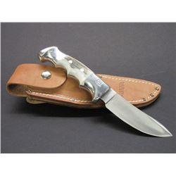 Marked Ruana Bonner Montana Knife- Signed VN Hangas- Finger Grooved- Original Sheath- 4.25  Blade