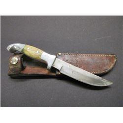 "Marked RH Ruana Bonner Montana Knife- Original Sheath- 5"" Blade- 4"" Handle"