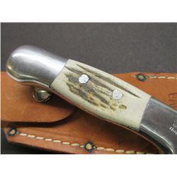 Marked RH Ruana Bonner 28 CD Montana Knife-Signed VN Hangas- Finger Grooved-  Original Sheath