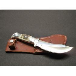 "Marked Ruana Bonner Montana Custom 19B Knife- Signed MH Hangas- Original Sheath- 5"" Blade- 4.5"" Hand"