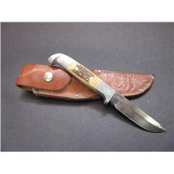 "Marked RH Ruana Bonner Montana Knife- M Stamp- Original Sheath- 3.75"" Blade- 4.5"" Handle"