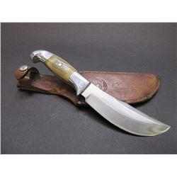 "Marked RH Ruana Bonner Montana Knife- Knife Stamped- Single Pin- Original Sheath 5.75"" Blade"