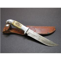 "Marked RH Ruana Bonner Montana Knife- Knife Stamped- Signed RH Ruana Bullwhip- Original Sheath- 6"" B"