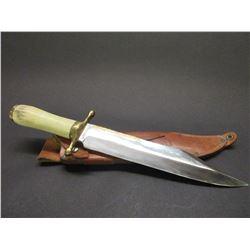 "Signed RH Ruana Bullwhip 1981 38C Bowie Knife- Brass Parry Strip- Original Sheath- 12"" Blade- 5.5"" H"