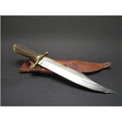 "Signed RH Ruana Bullwhip 1976 38C Gap M Bowie Knife- Brass Parry Strip- Original Sheath- 12.25"" Blad"