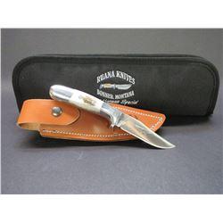 "Marked Ruana Bonner Montana Knife- Anvil Stamp- VN Hangas Special- Original Sheath- Soft Case- 4"" Bl"
