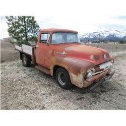 1956 F100 Ford Pickup- 88559 Miles- 289 Automatic- 2nd Owner- Runs and Drives- No Glass in Side Wind