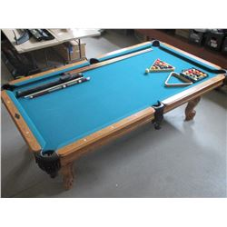 "8' 2"" X 4' 7"" Pool Table- 2 Sets of Balls- 2 Racks- 10 Cues- 1 Bridge- Cue Holder- Good Condition"