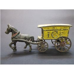 "Cast Horse Drawn Ice Wagon- 10""L X 2.5""W X 4""H"