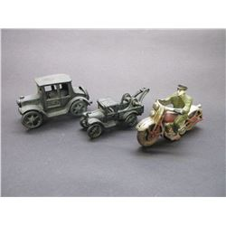 Cast Tow Truck- Car- Motorcycle