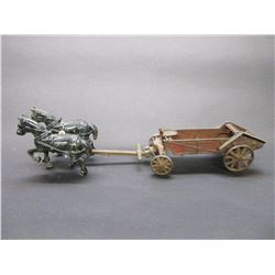 "Cast Horse Drawn Manure Spreader- 16.5""L X 3.5""W X 4""H"