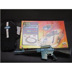 Tyco Road Racing Set- M-16 Toy Gun- Drink Back Pack- Mittens- Drum Sticks