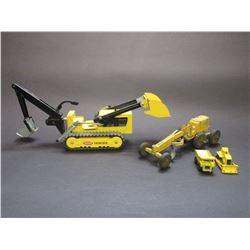 Small Tonka Truck Trencher With Front End Bucket- Small Tonka Style Road Grader- Toy Size Bull Dozer