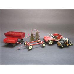 Small Ny-Lint Roadster- 2 Small Wagons- Wagon Frame- Small Semi Tractor- 2 Cowbells