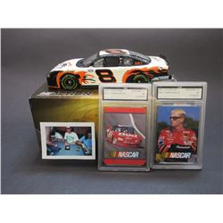Signed Dale Jr Elite Stock Car- 1:24 scale- 1/5004- 2 FGS Graded 2001 Cards in Sealed Holders