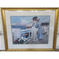 "Signed Albert Maignan 1906 Seaside Print- Frame 40"" X 34"""