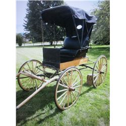 "Restored 1900s Amish Dr. Buggy- Box 55"" X 23.5""- 40"" Rear Wheels- 37"" Front Wheels- Fold Down Top-"