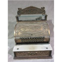 "Brass National Cash Register- Built 6-2-11- Everything Works- Marble Shelf Has Crack- 22"" H X 17""W X"