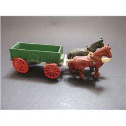 "Cast Iron Toy Horse Drawn Wagon- 11""L X 3""W"