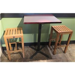Square Wood Top Pedestal Table & 2 Wooden Slatted Stools