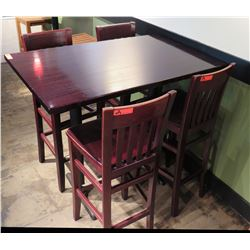 Rectangle Wood Top Pedestal Table & 4 Wooden Chairs