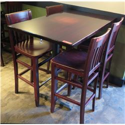 Rectangle Wood Top Pedestal Table (48x30x42H) & 4 Wooden Chairs