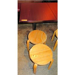 Rectangle Wood Top Pedestal Table & 2 Round Wooden Stools