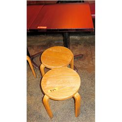 Rectangle Wood Top Pedestal Table (24x30x30H) & 2 Round Wooden Stools