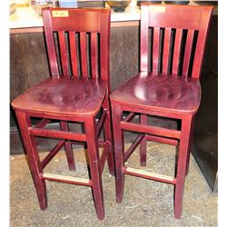 "Qty 4 Wooden Bar-Height Chairs (44"" Height to Top of Backrest)"
